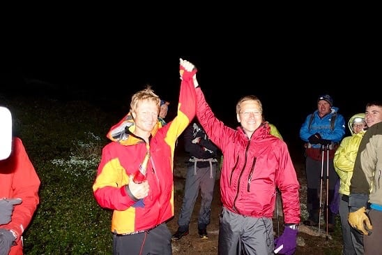 Andrew Hamilton and Teddy Keizer after Andrew's finish (Anirudh Sarsam)