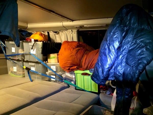 Andrew's gear in the crew van (Andrea Sansone)