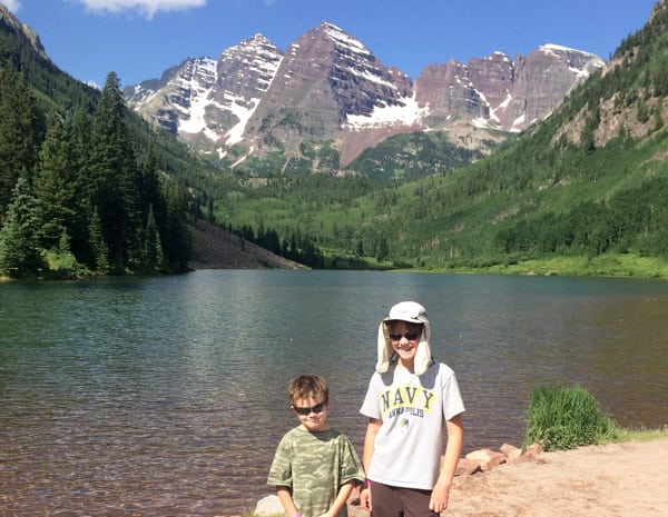 Axel (left) and Calvin wait for their dad Andrew at Maroon Lake (Natalie Hamilton)