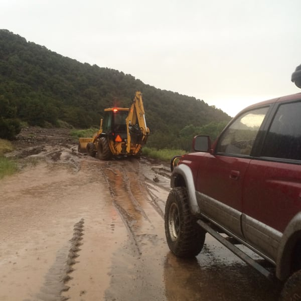 Road washout on road to Mount Lindsey. Photo: Andrea Sansone