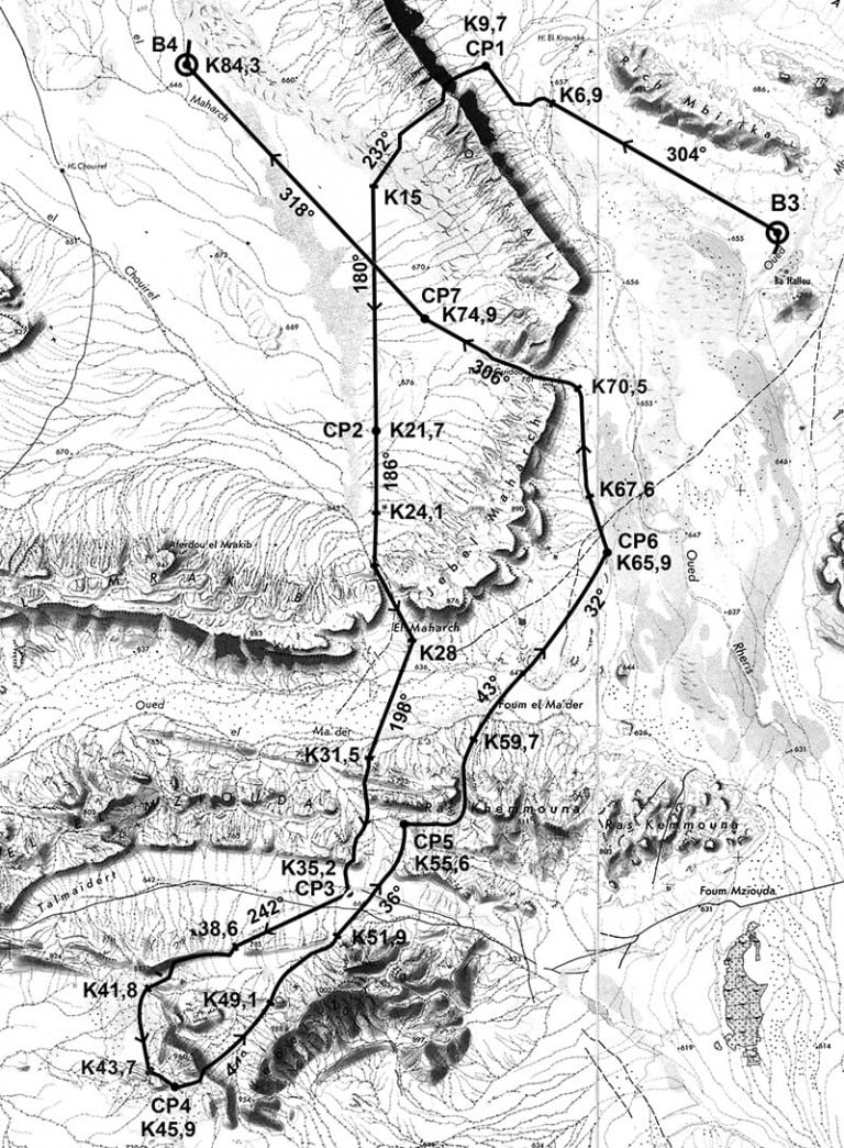 2016 Marathon des Sables Stage 4 Roadbook map