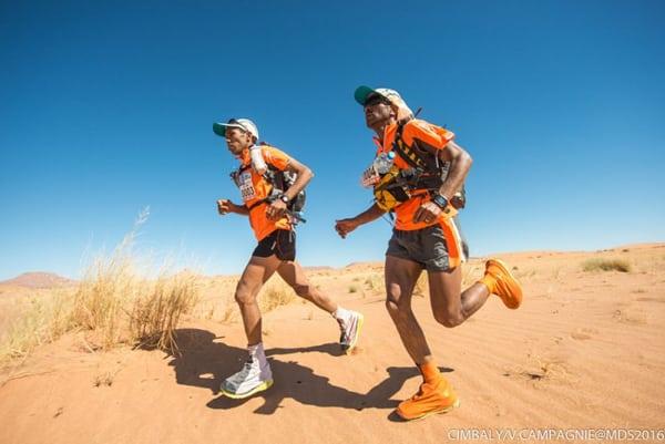 2016 Marathon des Sables Stage 3 Abdelkader El Mouaziz and Aziz El Akad