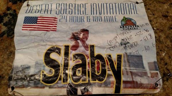 Gina Slaby - 100-mile world record bib