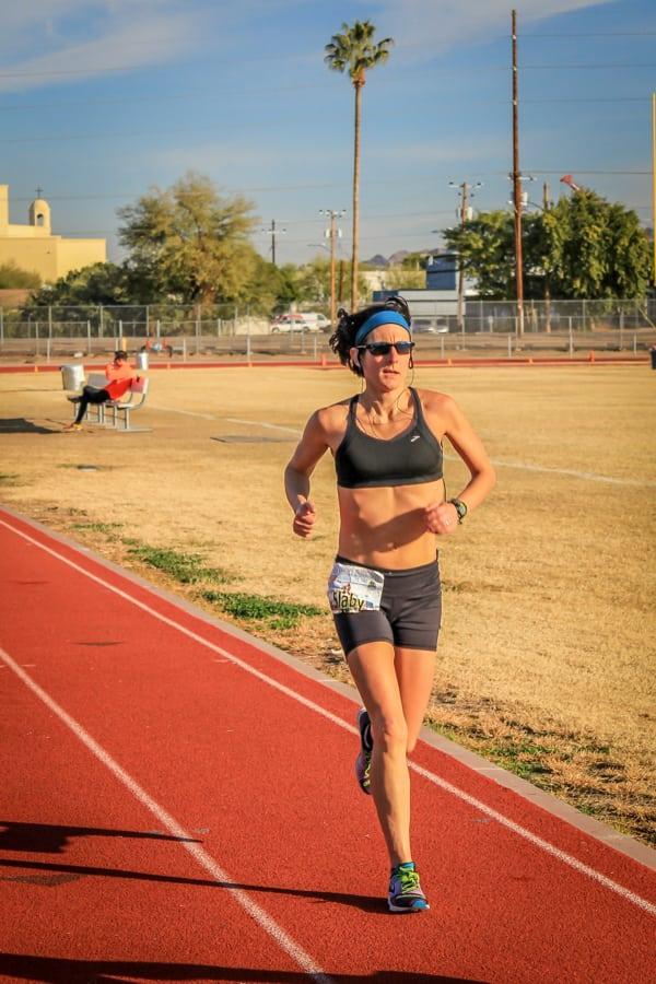 Gina Slaby - 100-mile world record - sun