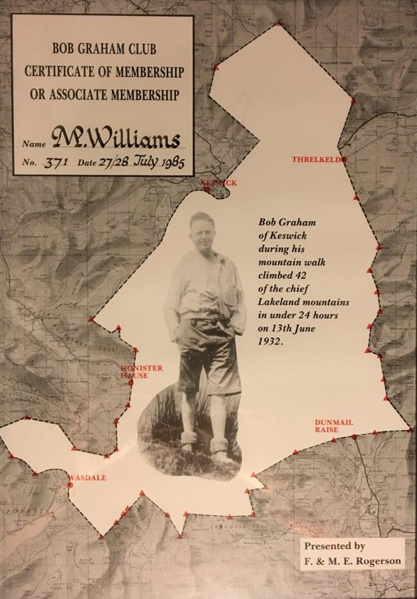 Morgan Williams 2 - Bob Graham Round certificate