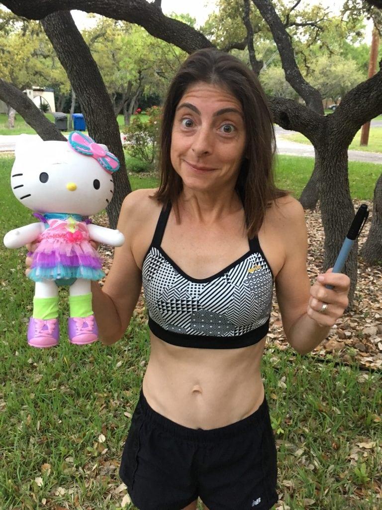 Liza Howard and a Hello Kitty doll
