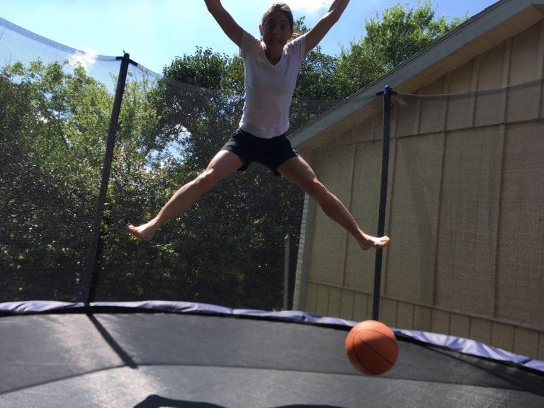 Liza Howard on her trampoline