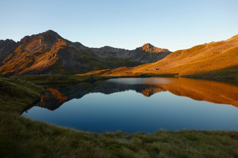 View from Angelus Hut at sunset, New Zealand
