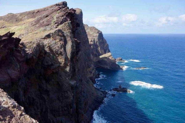 Sea cliffs on Ponta de Sao Lourenoo