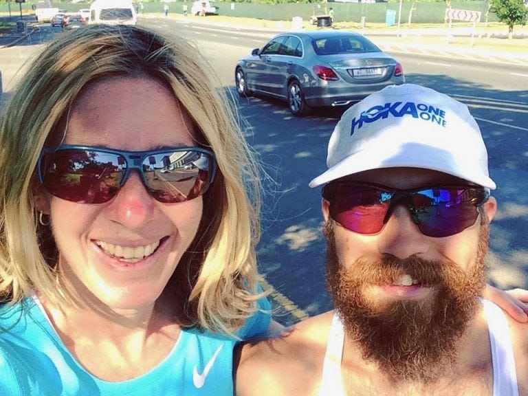 Camille Herron and Patrick Reagan on a training run in Durban, South Africa