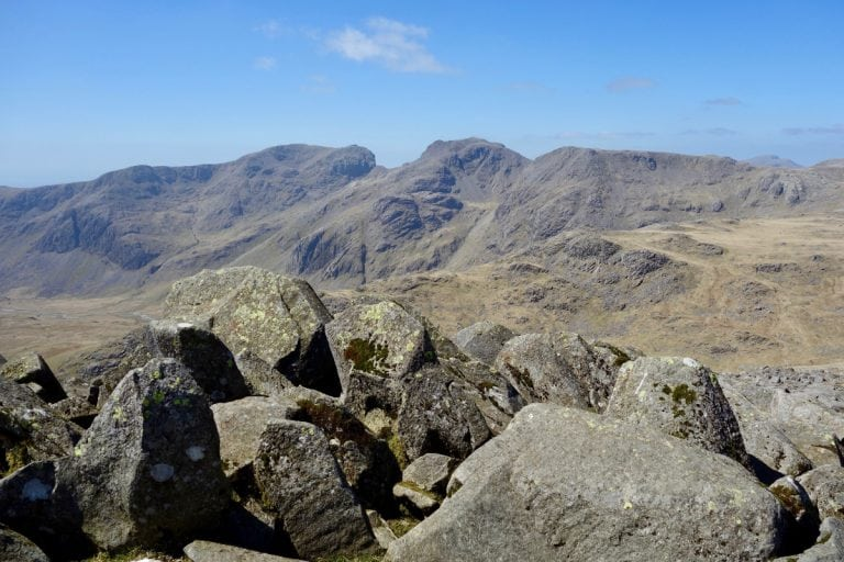 Looking from Bowfell to Scafell Pike and Skafell