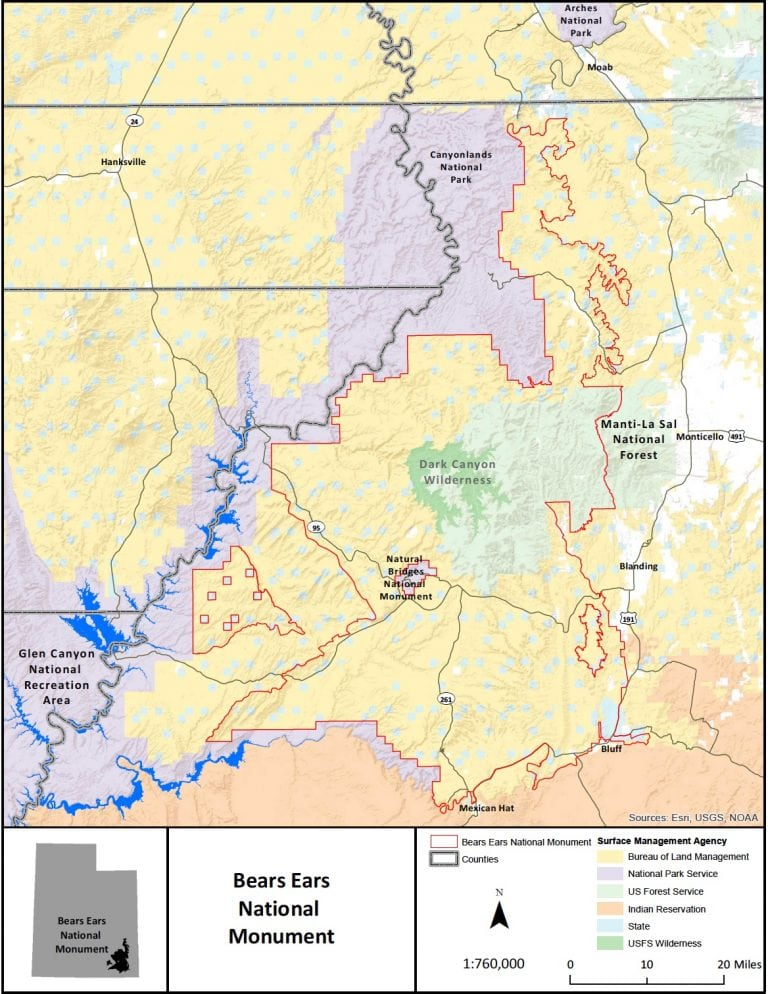 Bears Ears National Monument map