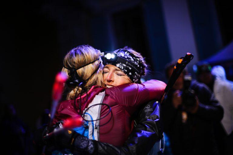 Sophie Grant and Stephanie Violett at finish - Kirsten Kortebein - 2017 UTMB 24