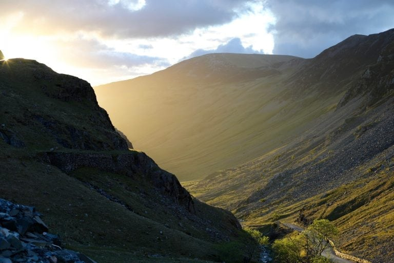 Above Honister Pass at sunset