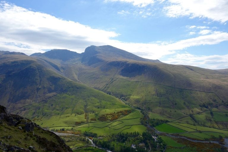 Scafell Pike and Scafell from Yewbarrow above Wasdale