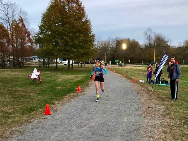 Camille Herron at mile 76 of the Tunnel Hill 100 Mile - Traci Falbo
