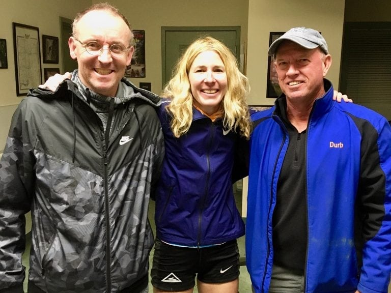 Camille Herron with Steve Durban and Conor Holt at the Tunnel Hill 100 Mile - Conor Holt