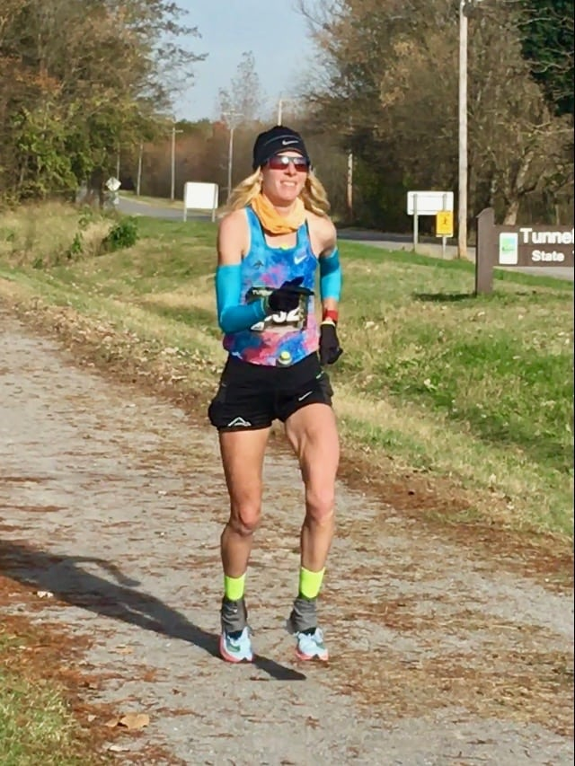 Camille Herron during the 2017 Tunnel Hill 100 Mile - Conor Holt