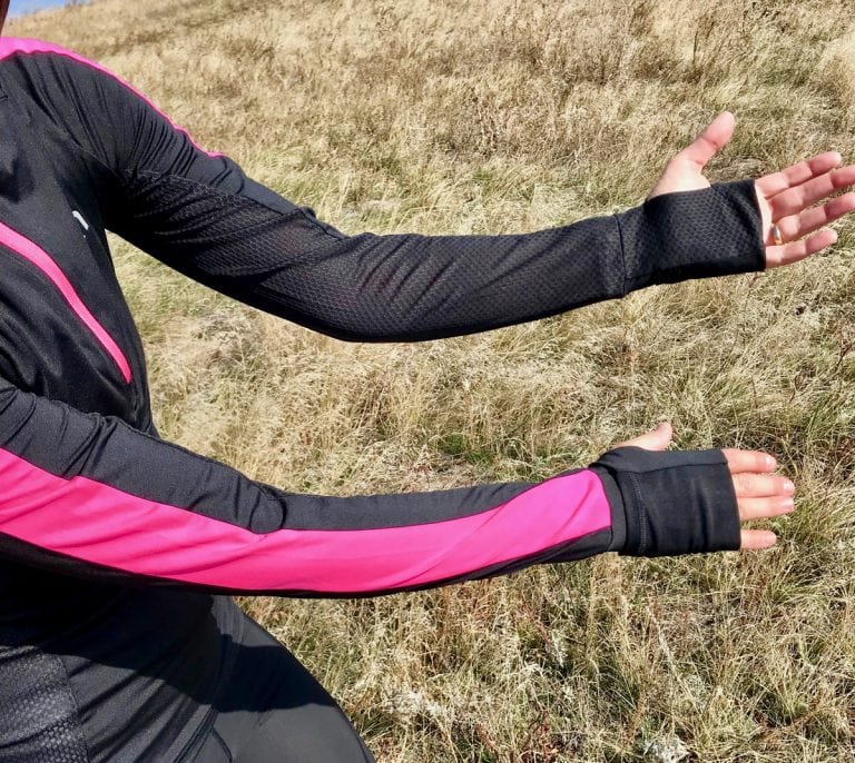 Kari TraaKristin Long-Sleeved Quarter-Zip Top arms and mitts