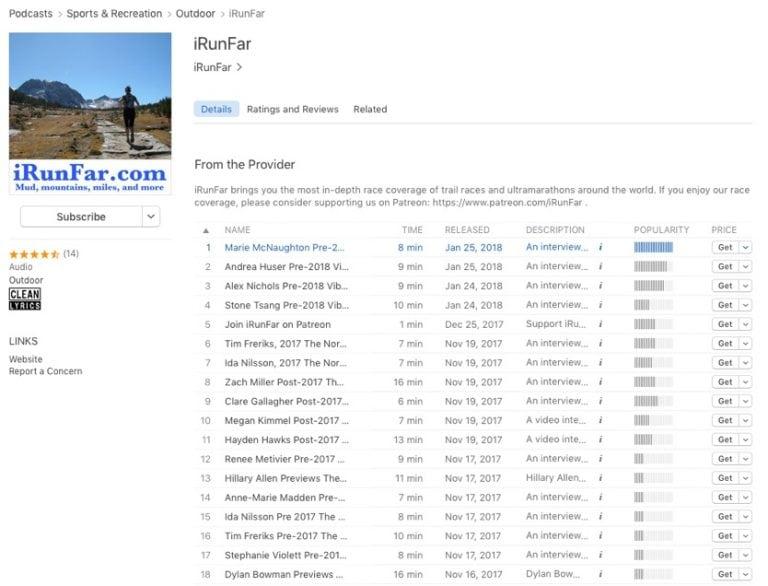 iRunFar Audio on Apple Podcast