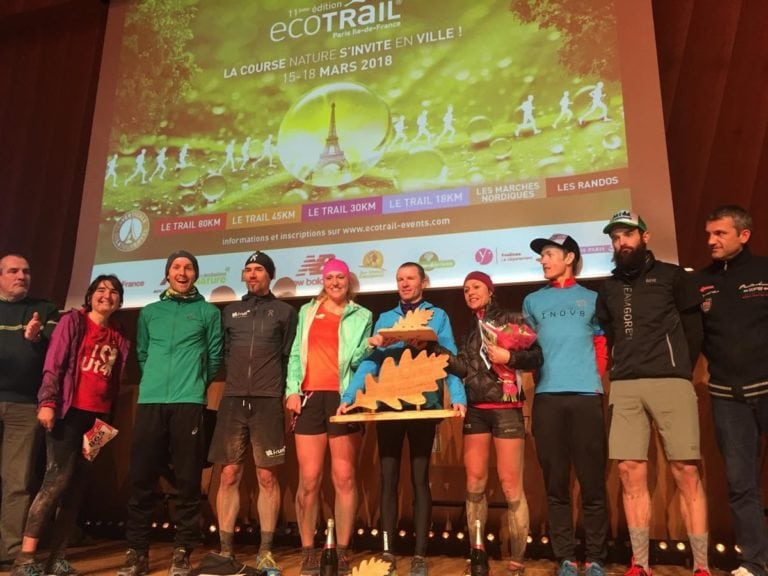 2018 EcoTrail Paris womens and mens podiums