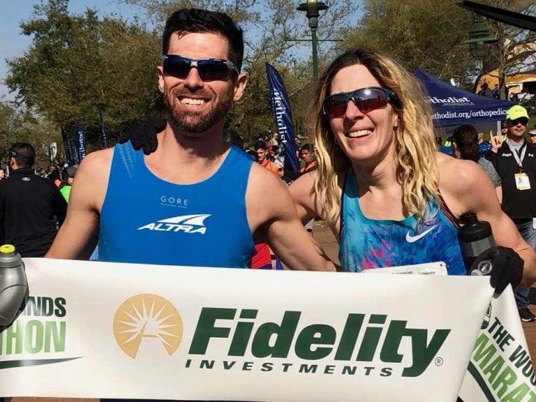 Calum Neff and Camille Herron - 2018 The Woodlands Marathon champions