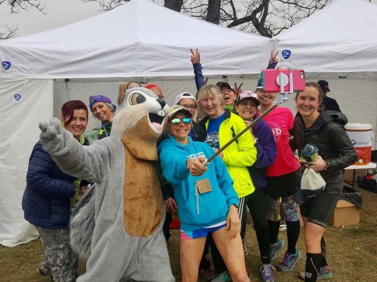 Meghan Kennihan and Earth Day squirrel at the 2018 Earth Day 50k