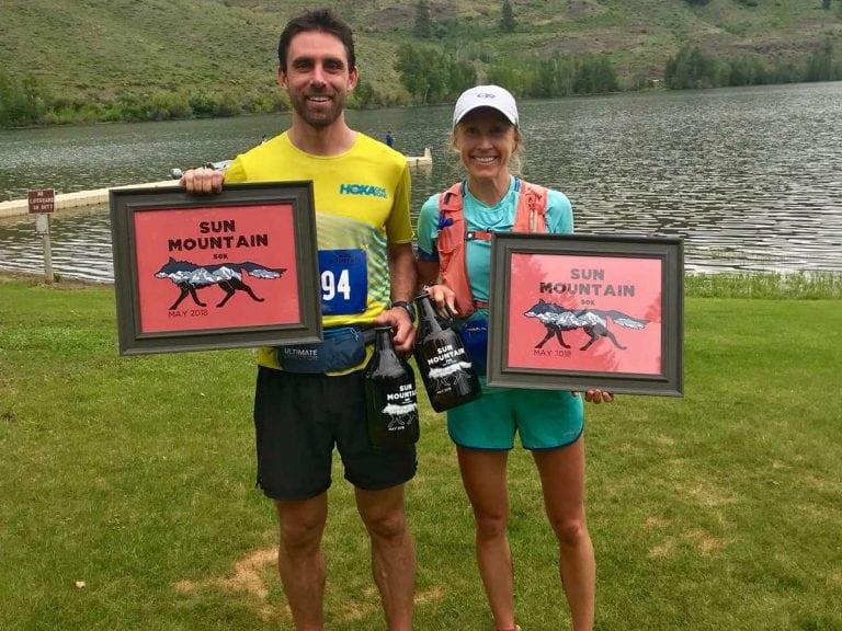 Jeremy Wolf and Ladia Albertson-Junkans - 2018 Sun Mountain 50k champions