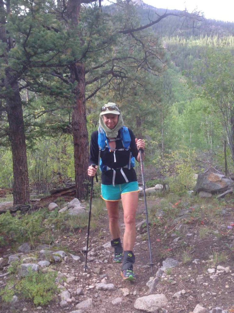 Ginny at Nolan's 2014 starting up towards Yale from Avalanche Gulch. Photo: Eric Robinson