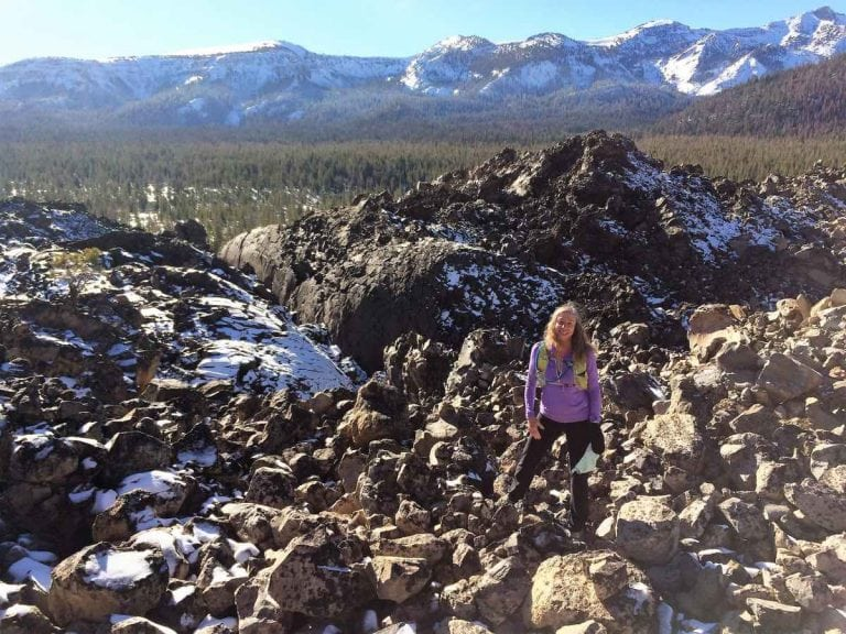 Ginny amongst one of the obsidian domes near Mono Lake in Eastern CA. Photo: Eric Robinson