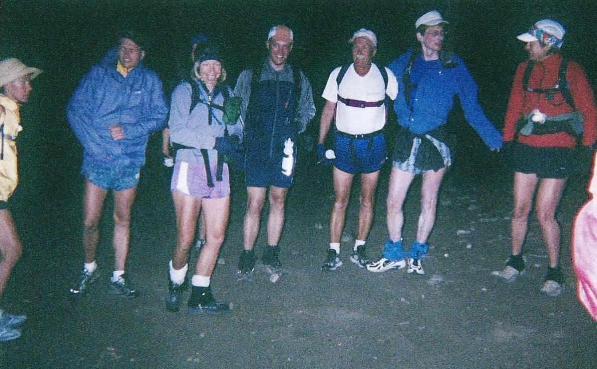 Nolan's start 2002, with Rickie Redland, John Robinson, Ginny, Tim Erickson, Don Mosel, Eric Robinson and Betsy Kalmeyer. Photo: Fred Vance