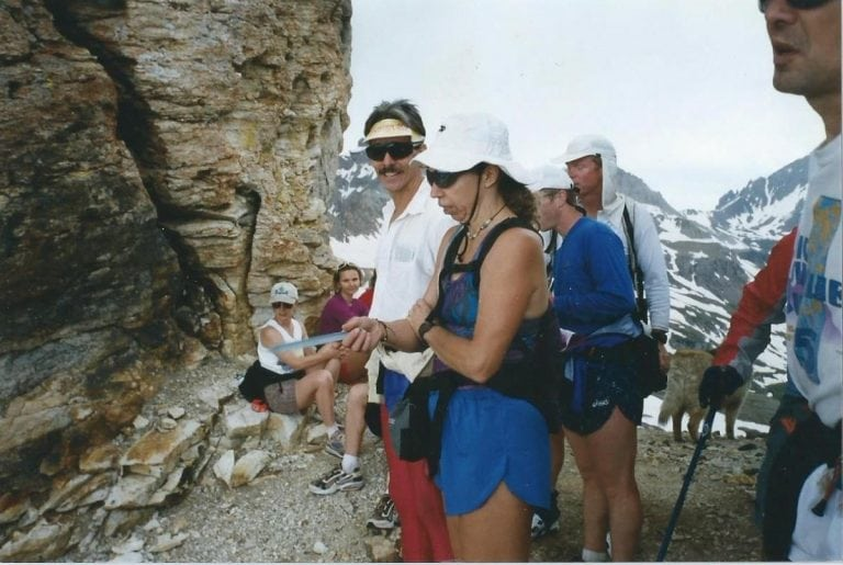 At Virginius Pass during Hardrock course marking in 1998 with Bozena Maslanka, Joe Clapper, Scott Mills and others. Photo: Charlie Thorn