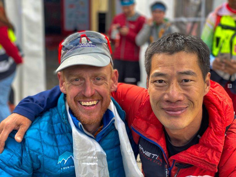 Bryon Powell - Chunrong Zhang - 2019 Ultra Tour Mount Siguniang 110km finish
