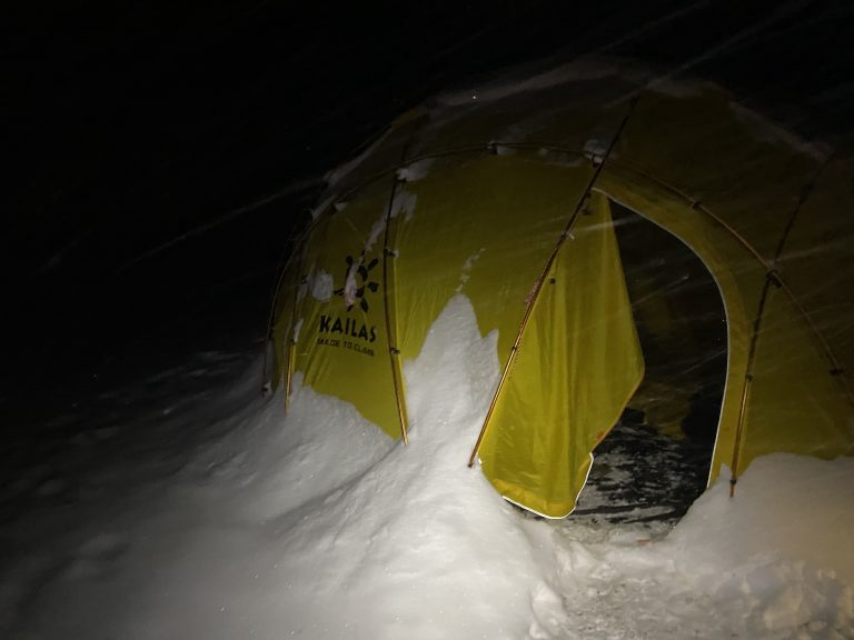 High Point snow-covered tent