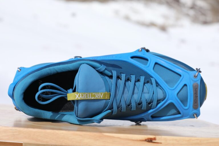 Kahtoola EXOspikes reviewed with Arc'teryx trail running shoes