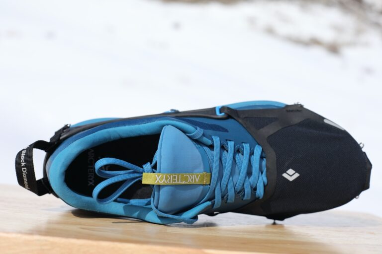 Black Diamond Distance Spike reviewed with Arc'teryx trail running shoes