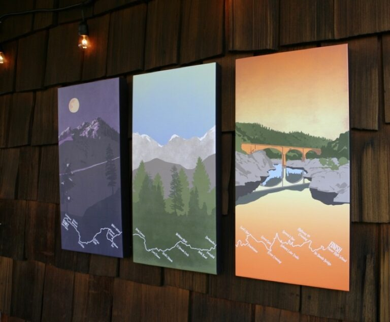 Maggie Tides Design - full triptych canvas - Western States 100 course