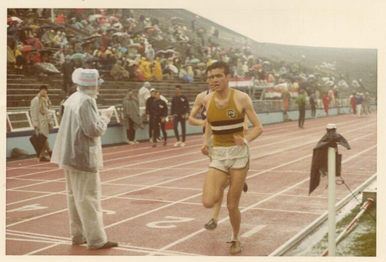 IRF 4-- Rick Trujillo at finish line, 3 Mile Run, KU Relays_ 18 April 1970, Lawrence, KA