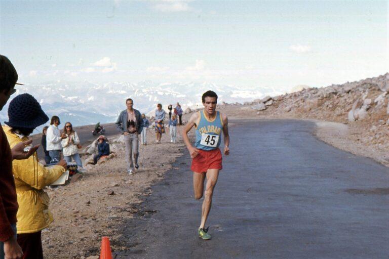 IRF 6-- Running_ Rick Trujillo at Mt Evans finish, 1st in 1hr44min24sec 17Jul1976