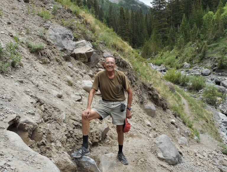 IRF 18-- Trail Work_ Rick Trujillo at the Ouray Bear Cr. trail washout_ 14Jun2018