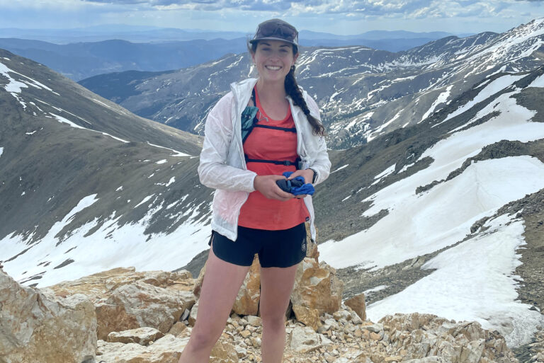 Abby Levene - Patagonia Capilene Cool Lightweight Tee - Snowy Mountains