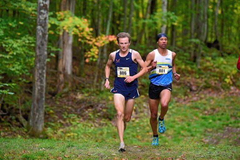 Joe Gray (Champion) and Edward Owens (second) at the Birke Trail Run Festival USATF Half Marathon Trail Championships