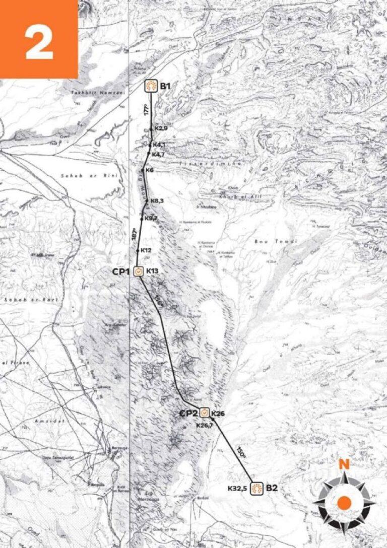2021 Marathon des Sables - Stage 2 route map