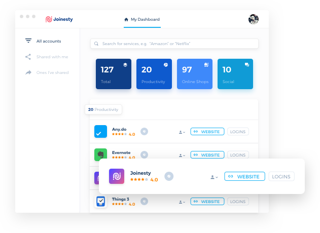 Joinesty dashboard account manager