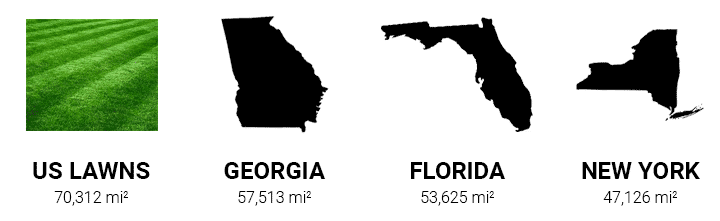 Area of US Lawns compared to Georgia, Florida, and New York