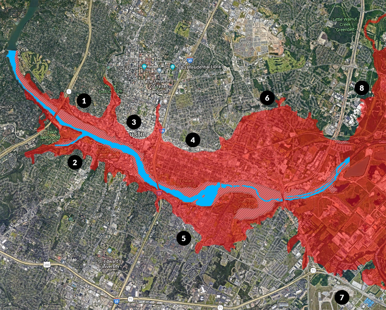 Austin Flood Areas if Mansfield Dam Fails