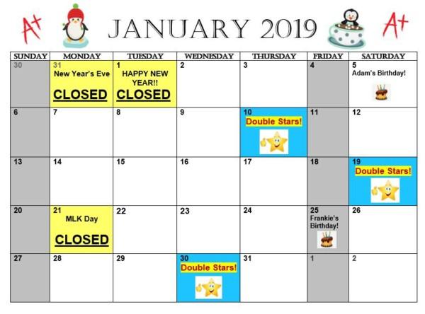 January 2019 Calendar Mlk Day January 2019 Calendar | Mathnasium