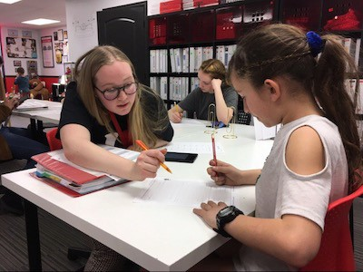 Mathnasium of Glendale's Assistant Director, Emma, working with a student