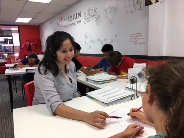Mathnasium of Glendale's Center Director, Alexis, helping a student with math