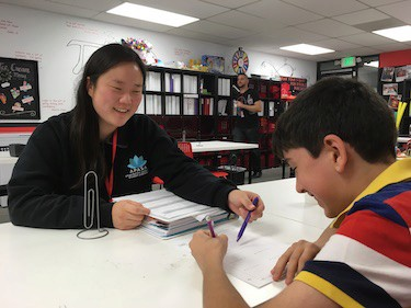 Math tutor Sharon working with a student